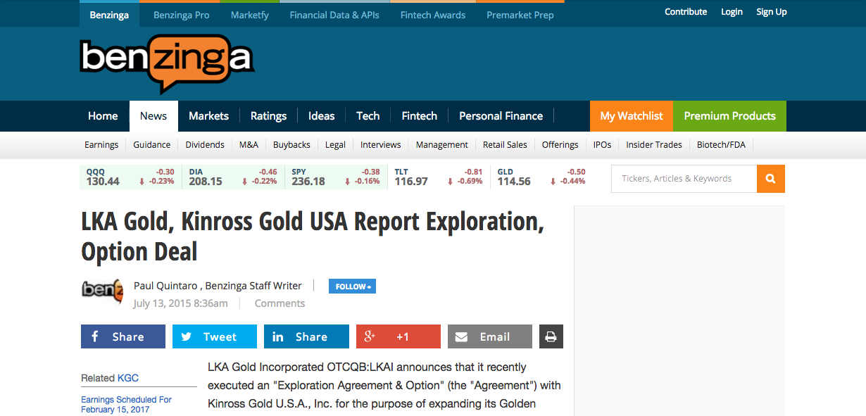 Benzinga – LKA & Kinross USA Sign Golden Wonder Exploration Agreement