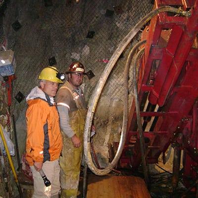 K. Abraham Inspecting Richmont Underground Drilling 2008