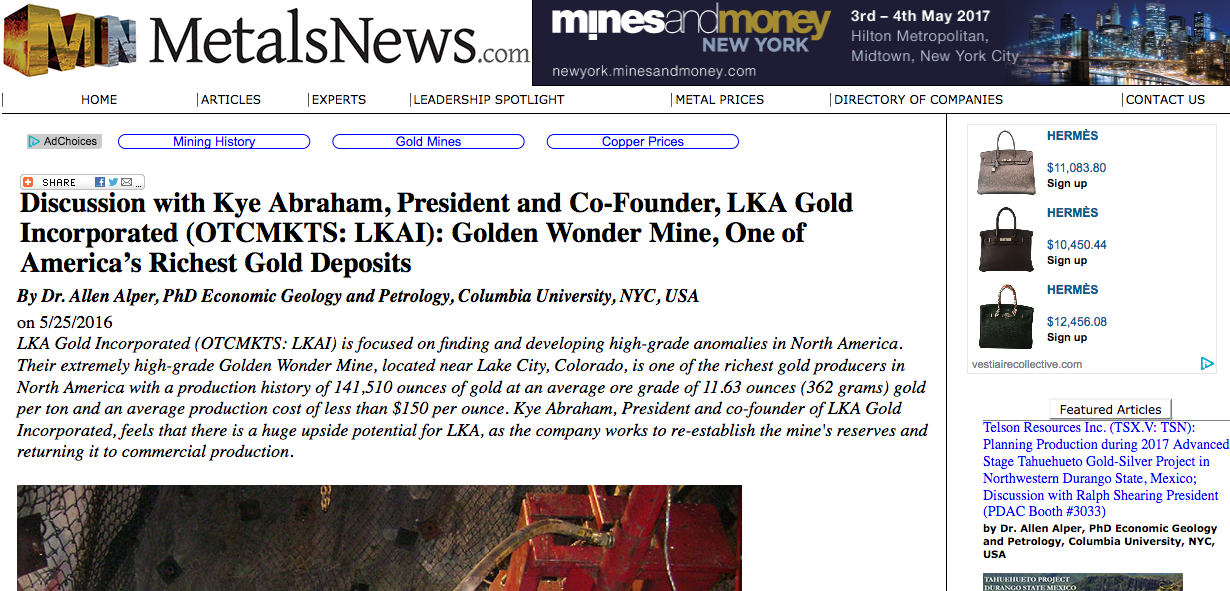 Metals News Interview with LKA President, Kye Abraham